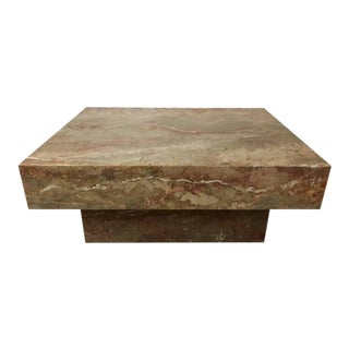 Substantial Rectangular Marble Cocktail Table For Sale