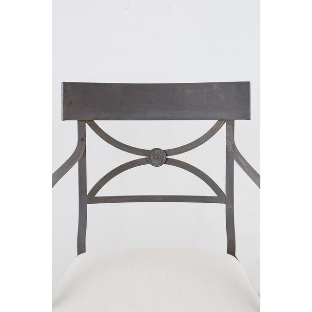 Set of Four Regency Style Iron Garden Patio Chairs For Sale - Image 4 of 13