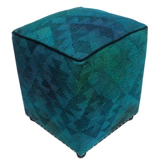 Arshs Delbert Teal/Gray Kilim Upholstered Handmade Ottoman For Sale
