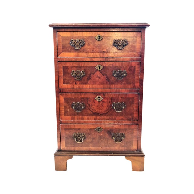 Antique English Walnut Small Chest of Drawers, Circa 1900-1910. For Sale