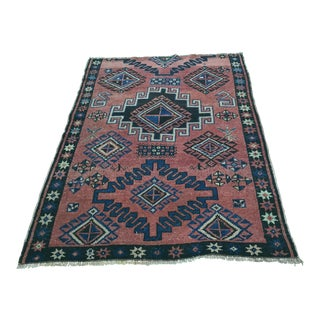 "Vintage Colored Turkish Oushak Rug - 4'5"" x 5'9"""