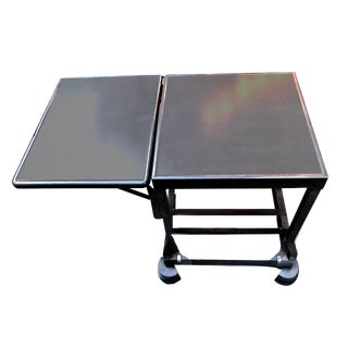 1940s Vintage Industrial Gray Tiffany Stand Company Drop Leaf Typewriter Table For Sale