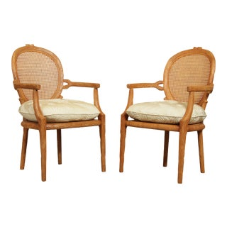 Louis XVI Style Faux Bois Pair Armchairs For Sale