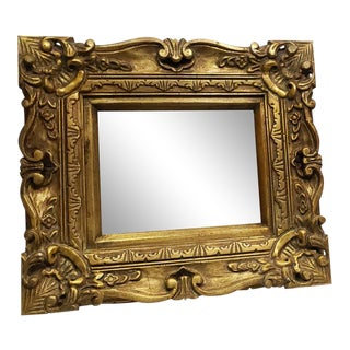 Vintage Gold Wood Square Wall Mirror Gesso Italian Barque Victorian Style For Sale