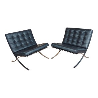 1960s VintageKnoll Studio Barcelona Chairs-Black Leather & Chrome Finish- A Pair For Sale