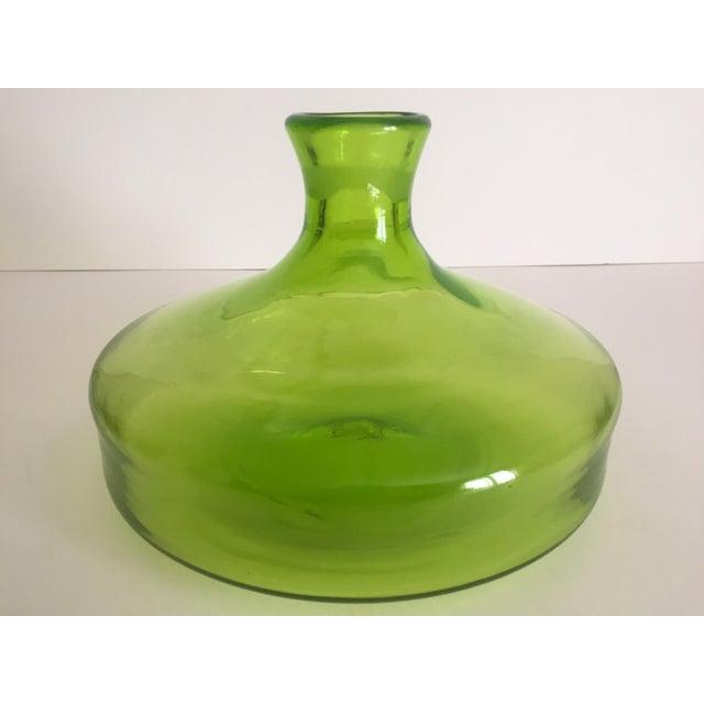 Vintage Blenko Mid-Century Chartreuse Handmade Glass Vase - Image 10 of 11