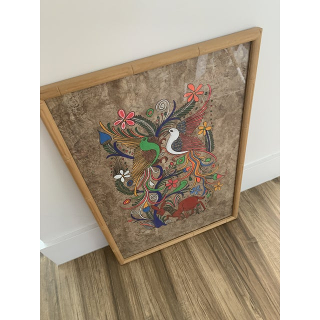 1980s Mexican Folk Art Painting on Amate Bark Paper, Framed For Sale - Image 5 of 10