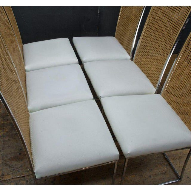 Six 1970s Milo Baughman High Back Cane Chrome Dining Chairs Postmodern Vintage For Sale - Image 9 of 11