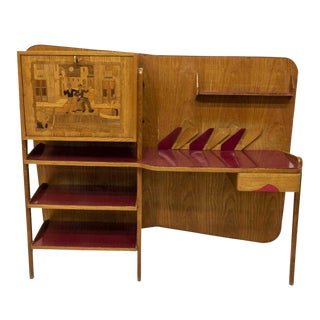 1950s Mid-Century Modern Oak Wall Mounted Bar Cabinet For Sale