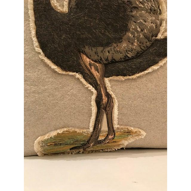 Safari Safari Linen & Cotton Applique Ostrich Pillow For Sale - Image 3 of 9