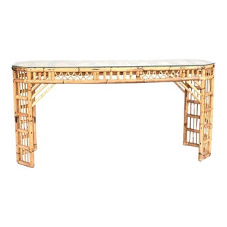 Brighton Style Bamboo Console With Glass Top For Sale