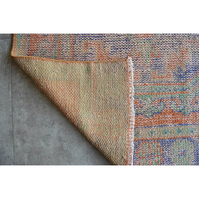 """Ruby Red Faded Colors Runner Low Pile Distressed Oushak Rug Runner - 2'11"""" X 11'10"""" For Sale - Image 8 of 9"""