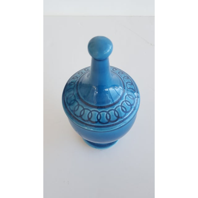 Contemporary Mid Century Glazed Ceramic Cerulean Blue Compote Apothecary Jar with Lid For Sale - Image 3 of 9