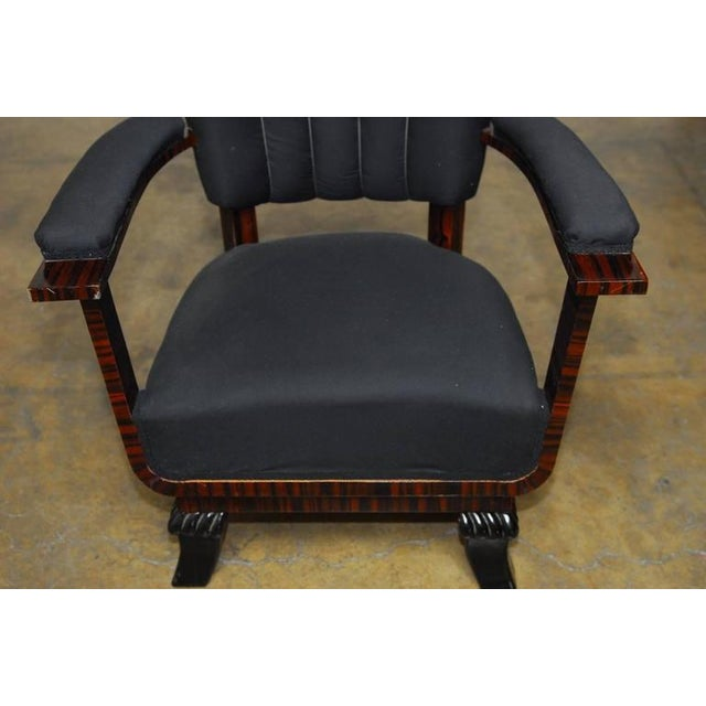Art Deco French Art Deco Macassar Club Chairs - A Pair For Sale - Image 3 of 10