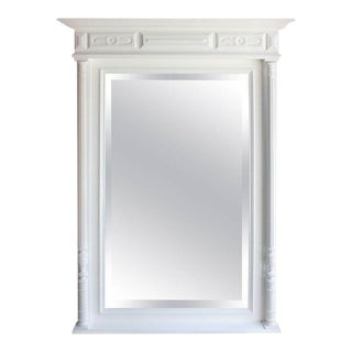 Monumental French 19th Century White Finish Neoclassical Wall Mirror Circa 1890s
