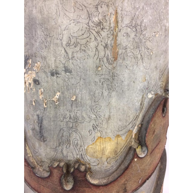 Antique French Wallpaper Roll Table Lamp For Sale - Image 9 of 11