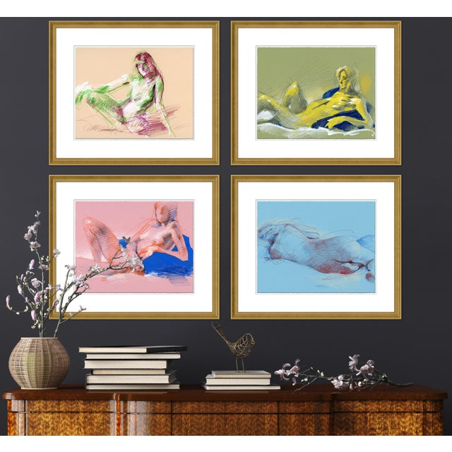 DESCRIPTION: Figure Horitzontal, Set of 4 by David Orrin Smith in Gold Frame, Small Art Print SPECIFICATIONS: Type: Giclée...