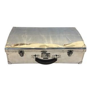 1940s English Polished Aluminum Suitcase For Sale