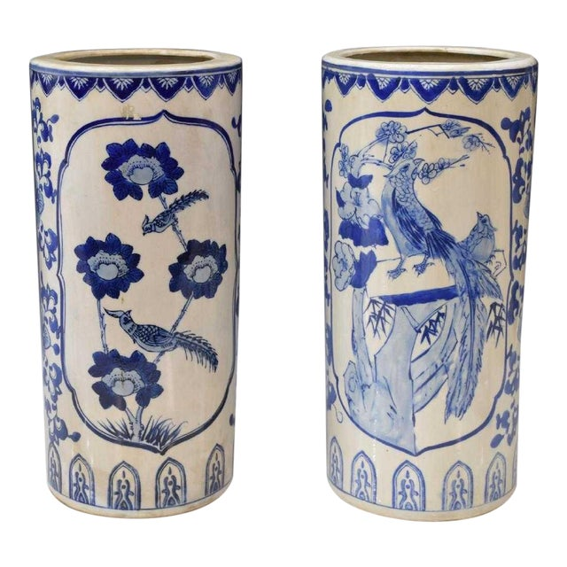 Chinese Blue & White Porcelain Hat Stands - a Pair For Sale