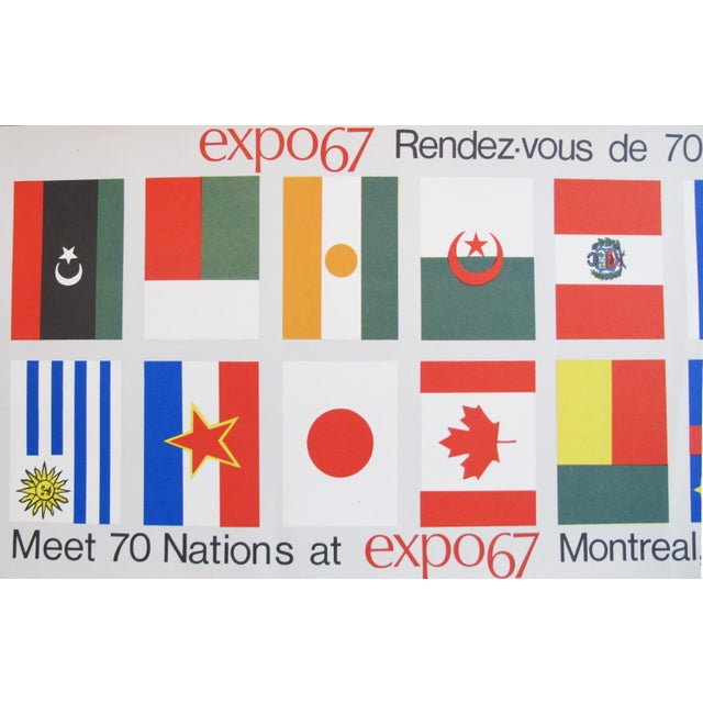 Contemporary 1967 Vintage Montreal Expo 67 Banners, Meet 70 Nations (Flags) For Sale - Image 3 of 4