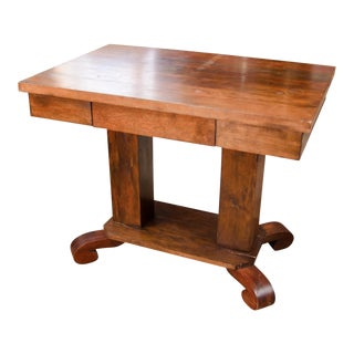 1930s Empire Style Walnut Library Side Table With Drawer For Sale