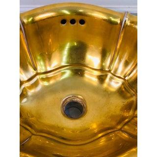 1970s Vintage Sherle Wagner Gold Leaf Porcelain Sink Basin Preview