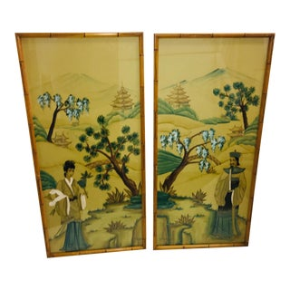 Original Signed Oriental Man & Woman Figures - A Pair For Sale