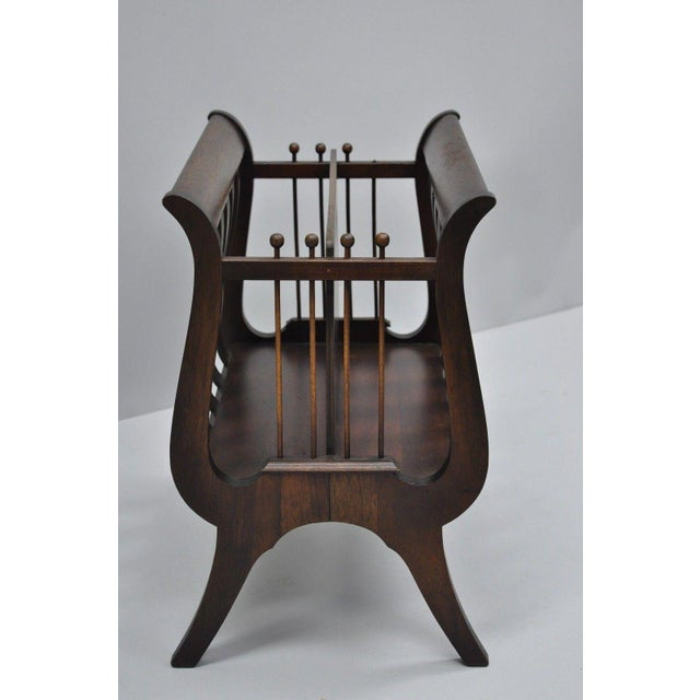 Antique Ferguson Mahogany Lyre Harp Form Magazine Rack Canterbury Stand For Sale - Image 4 of 12