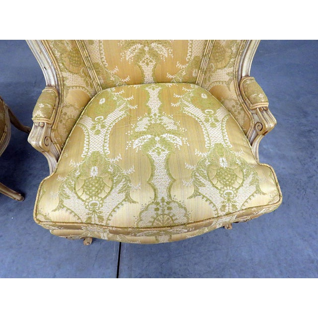 Mid 20th Century Pair of Drexel Heritage Louis XVI Style Bergeres For Sale - Image 5 of 10