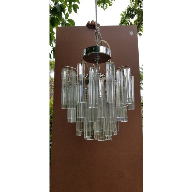 Metal 1960s Italian Glass Chandelier For Sale - Image 7 of 7