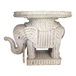 Vintage Wicker Elephant Garden Stool For Sale