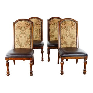 French Renaissance Wood Dining Chairs - Set of 4 For Sale