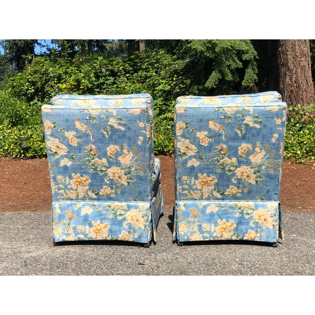 Textile Vintage Pennsylvania House Skirtted Floral Chinosire Slipper Chairs- A Pair For Sale - Image 7 of 12