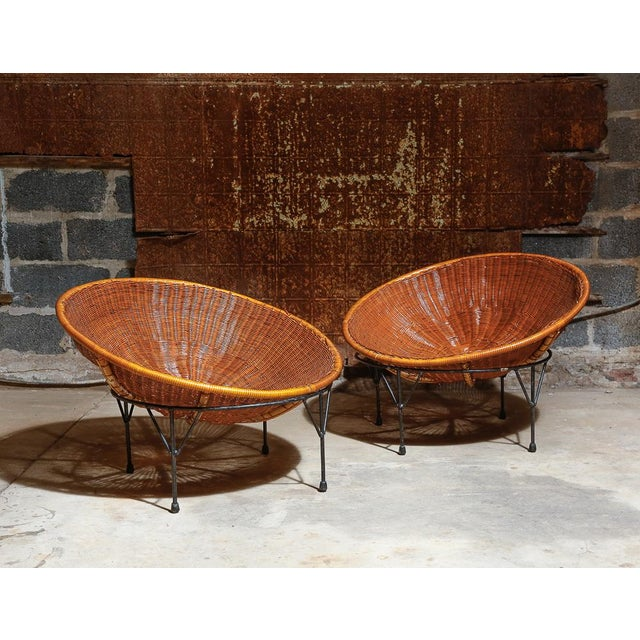 Rattan Hoop Lounge Chairs - A Pair - Image 2 of 5