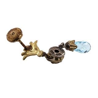 Designer 18k Gold Sterling Silver Blue Topaz Earrings Preview