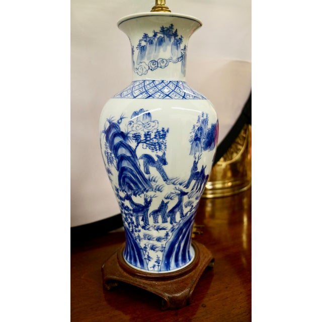 Ceramic Blue & White Asian Lamps - A Pair For Sale - Image 7 of 8