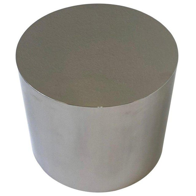 1980s Polish Stainless Drum Side Table by Brueton For Sale - Image 9 of 9