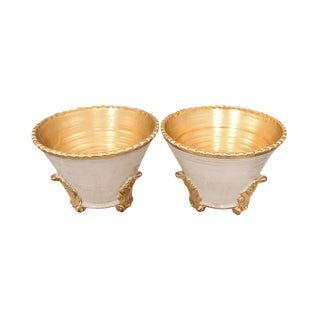 Italian White and Gold Leaf Footed Compotes - a Pair For Sale