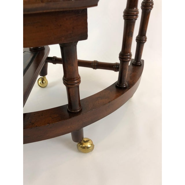 Brown 1980s Vintage English Style Decorative Mahogany & Embossed Leather Library Stairs For Sale - Image 8 of 12