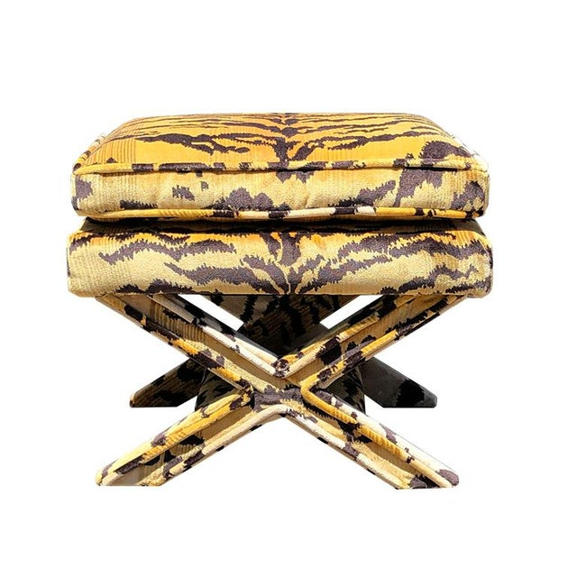 Textile Billy Baldwin 1950s Vintage Tiger Print X Bench Stool in Tiger Print Attributed to Scalamandre For Sale - Image 7 of 7