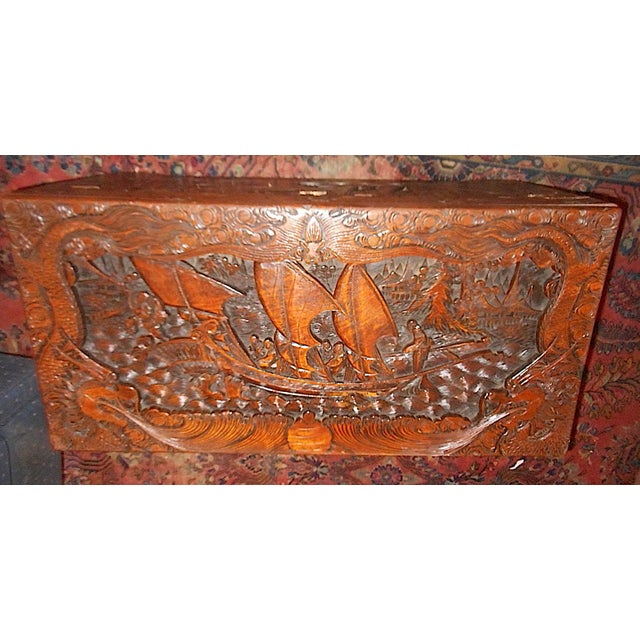 Antique Original Hand Carved Mahogany Chest/Coffee Table-Camphorwood Lined For Sale - Image 9 of 10