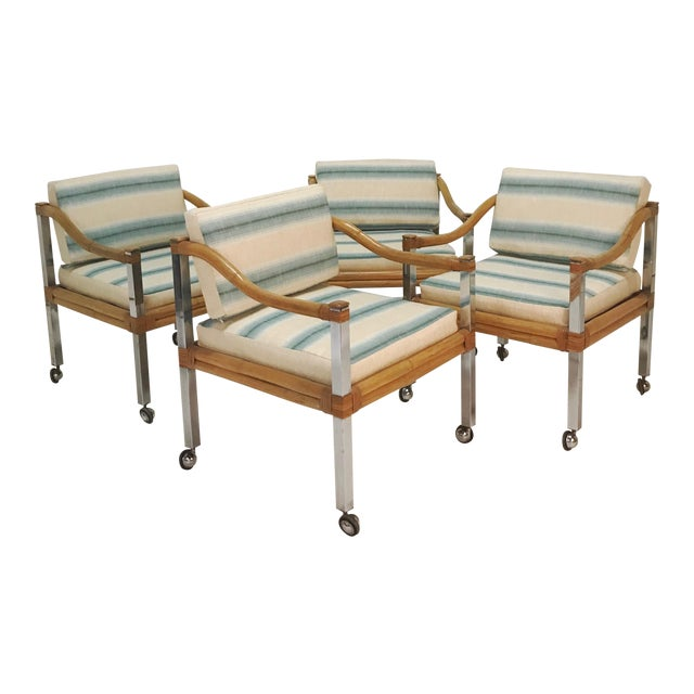 Wrapped Rattan & Chrome Armchairs - Set of 4 For Sale