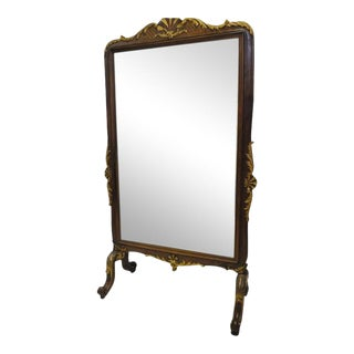 19th Century French Carved Walnut Beveled Cheval Mirror For Sale