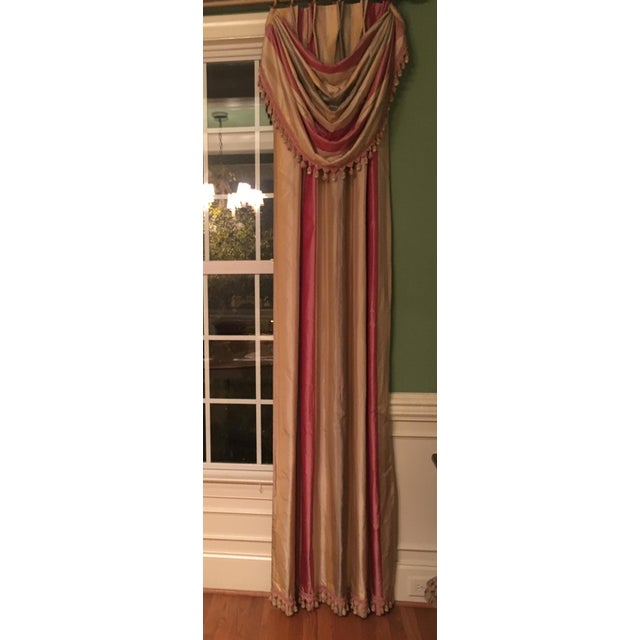 Traditional Silk Drapery Panels - 2 Panels For Sale - Image 3 of 5