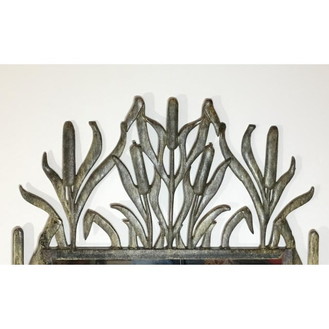 Metal Abstract Hollywood Regency Iron Cat Tail Wall Mirror For Sale - Image 7 of 13