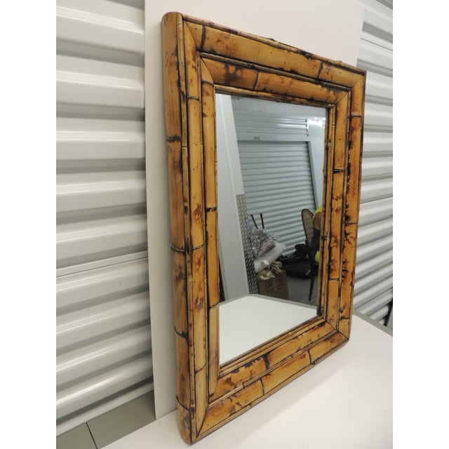 Vintage Rectangular Wood and Bamboo Mirror - Image 3 of 5