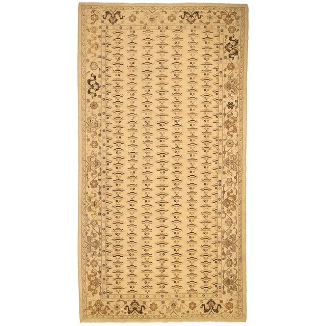 "Kafkaz Peshawar Marinda Tan & Tan Wool Rug - 8'11"" x 14'10"" For Sale"