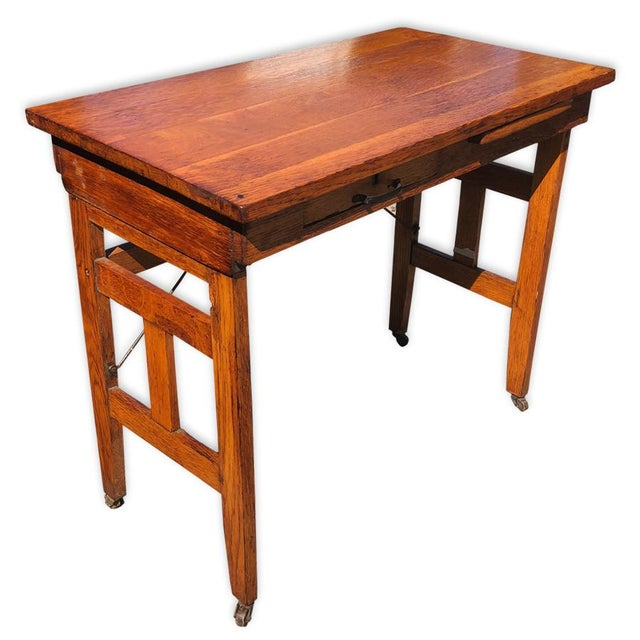 Antique Arts & Crafts Mission Oak Portable Typewriting Table Writing Desk For Sale - Image 6 of 6