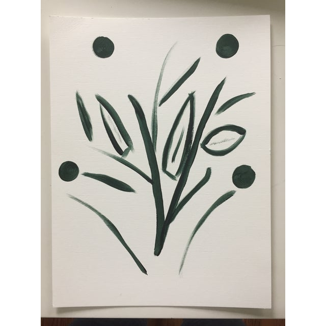 Minimalist Botanical Acrylic on Canvas Paper Painting For Sale - Image 4 of 4