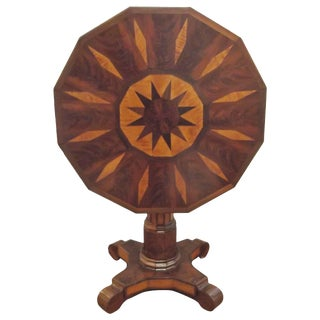 Mid 19th Century Antique Inlaid Tilt-Top Table For Sale